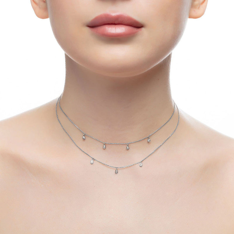 Gold and Diamond Two Chain Multi Pear Choker