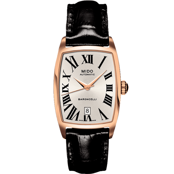 Baroncelli Silver Dial Black Leather
