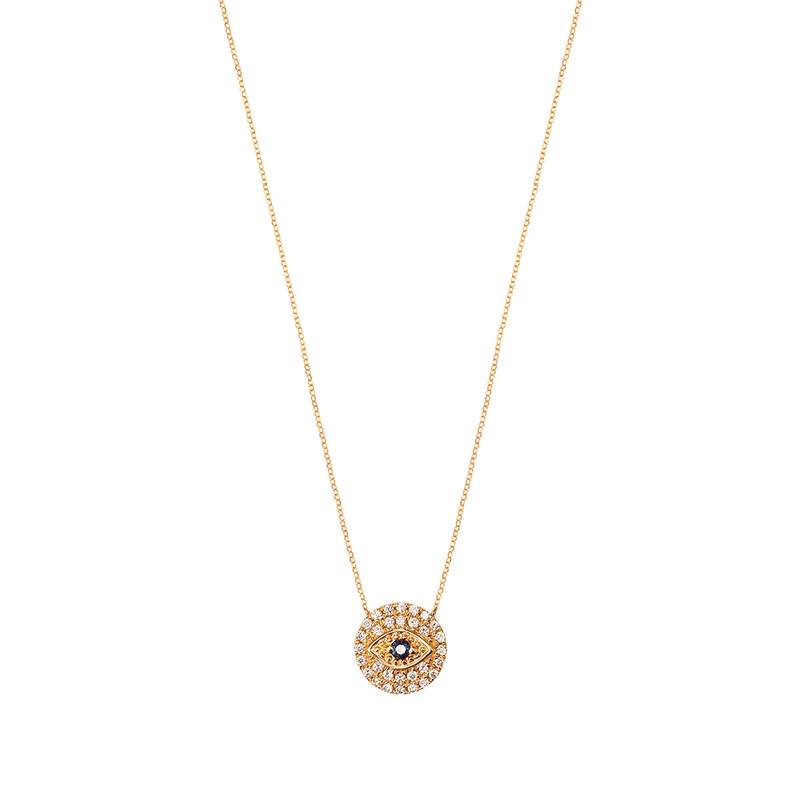 Gold and Diamond Big Round Eye Necklace