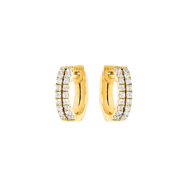 Gold and Diamond Hoop Earrings