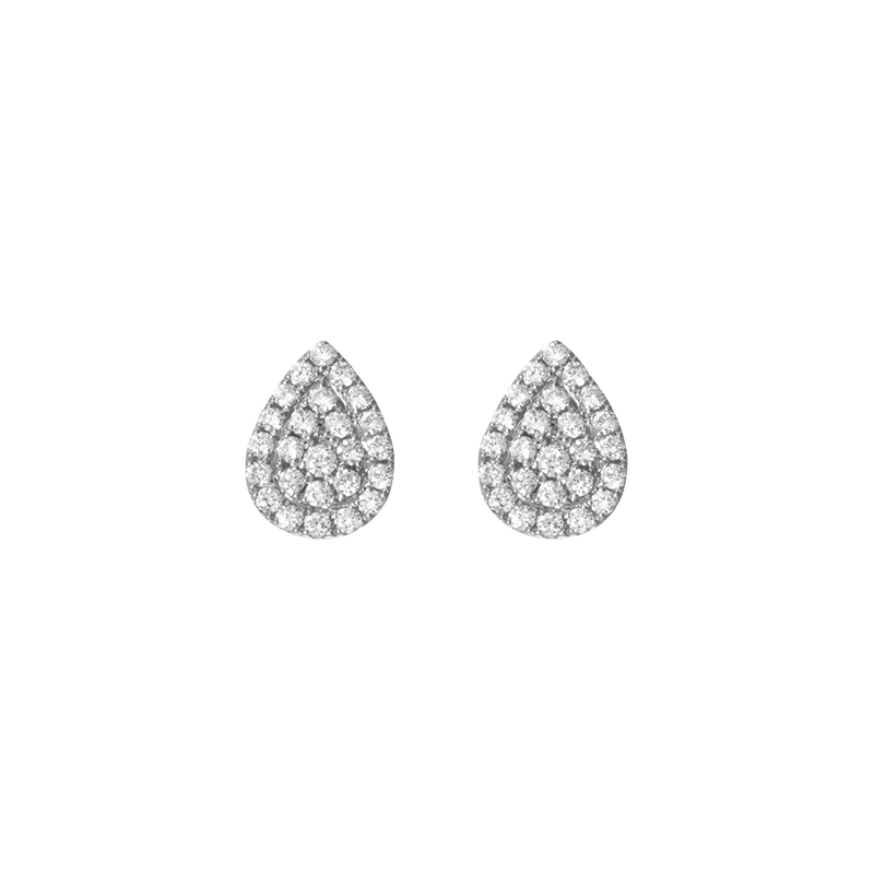 Gold and Diamond Pear Earrings