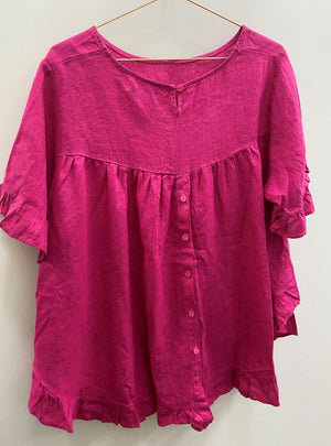 Worthier Linen Top H/Pink