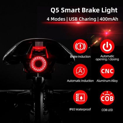 Bicycle Smart Auto Brake Sensing Light IPx6 Waterproof LED Charging Cycling Taillight Bike Rear Light Accessories