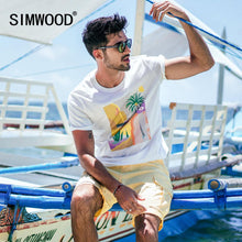 Load image into Gallery viewer, SIMWOOD 2019 summer new t-shir tmen vacation beach top high quality casual tees 100% breathable tshirt brand clothing 190344