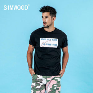 SIMWOOD 2019 summer new t-shirt men letter print fashion hip hop 100% cotton top high quality plus size tshirt 190117