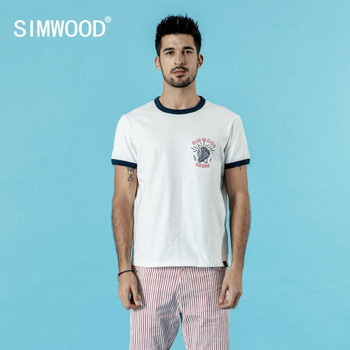 SIMWOOD  new contrast t-shirt men print tops 100% cotton high quality 2019 summer new plus size brand clothing 190315