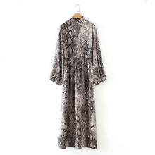 Load image into Gallery viewer, Tangada vintage style bow tie neck maxi dress woman snake print lantern sleeve retro female side open long dresses vestidos 1F32