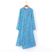 Load image into Gallery viewer, Tangada autumn women blue flower dresses long sleeve O-neck vintage fashion asymmetric dress vestidos feminina SL401