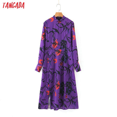 Tangada women elegant midi dress stand neck long sleeve 2019 vintage style females side open dresses vestidos SL402