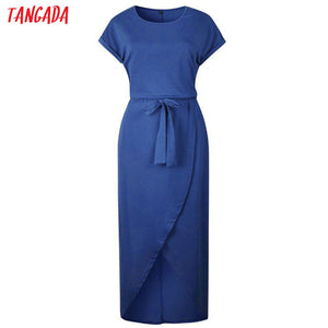 Tangada Women ladies maxi dress autumn 2019 long sleeve korean style blue elegant long dress XXL female large size AON40