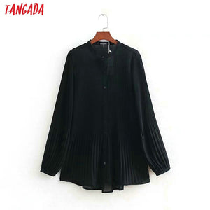 Tangada women elegant balck chiffon blouse office ladies o neck pleated long sleeve shirts female chic tops LY01