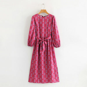 Tangada women paisley printed autumn dress long sleeve o neck slash 2019 vintage ladies midi dress vestidos 1F61