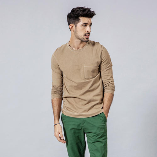 SIMWOOD 2019 autumn New Long Sleeve T-shirt Men 100% Cotton Solid t shirt Plus Size High Quality Brand Clothing 190130