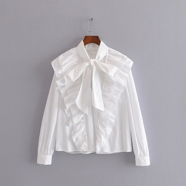 Tangada women ruffle white shirts cotton long sleeve solid bow tie neck elegant office ladies work wear blouses 3H323