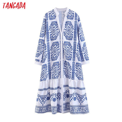 Tangada women paisley blue dress print long sleeve pleated v neck lady loose midi dresses vestido mujer SL174