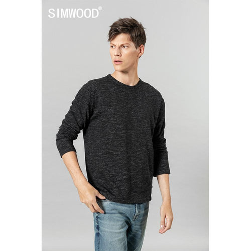SIMWOOD 2019 autumn winter new long sleeve  t-shirt men Melange tops high quality plus size clothes t shirt SI980560