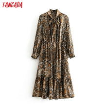 Load image into Gallery viewer, Tangada women snake print midi dress long sleeve 2019 autumn winter vintage bow tie lady female dress vestidos 3H03