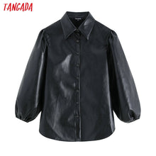 Load image into Gallery viewer, Tangada women faux leather black shirts 2019 new arrival Lantern sleeve vintage female oversize blouses tops BE04