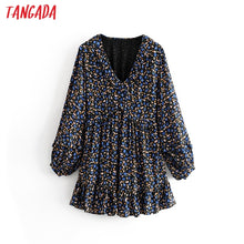 Load image into Gallery viewer, Tangada women sweet chiffon mini dress ruffle V neck long sleeve pleated female loose dresses vestidos 3H29