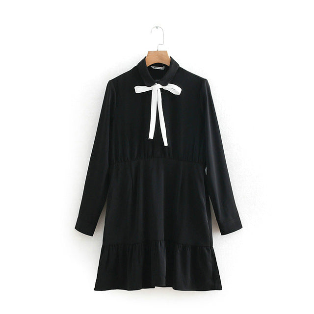 Tangada women elegant black shirt dress vintage bow tie sweet long sleeve fashion 2019 ladies spring pleated dress 2W49