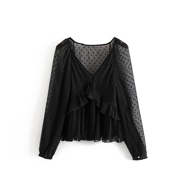 Tangada women chic black mesh blouse ruffled lantern sleeve female transparent shirts stylish v neck tops blusas 3H318