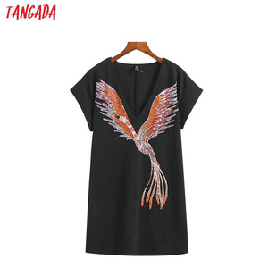 Tangada Women Summer Black Dresses Bird Print Elegant V-neck Short Sleeve Mini Dress Korean Fashion Brand Sundress XZ12