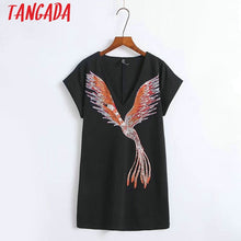 Load image into Gallery viewer, Tangada Women Summer Black Dresses Bird Print Elegant V-neck Short Sleeve Mini Dress Korean Fashion Brand Sundress XZ12