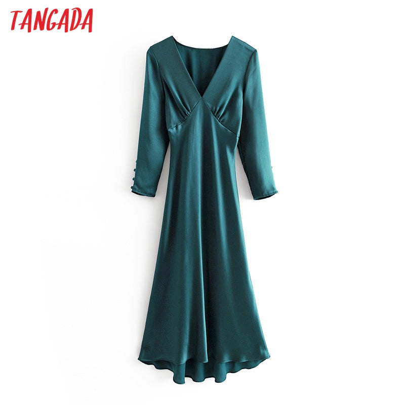 Tangada women korea solid dress deep v neck long sleeve pleated vintage party midi dress ladies vestidos 3H30