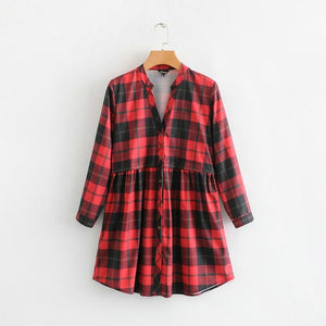 Tangada women red plaid shirt dress checkered vintage long sleeve pleated female V neck casual mini dress vestidos TL14