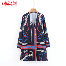 Load image into Gallery viewer, Tangada women elegant mini dress chain print long sleeve vintage buttons lady dress female v neck blue dress vestidos SL161