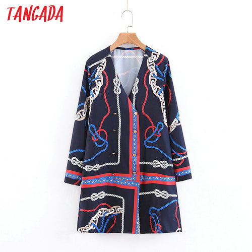 Tangada women elegant mini dress chain print long sleeve vintage buttons lady dress female v neck blue dress vestidos SL161
