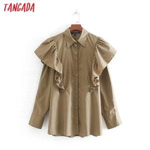 Tangada women oversize ruffle cotton blouse turn down collar long sleeve chic ruffle shirt blusas femininas CE162