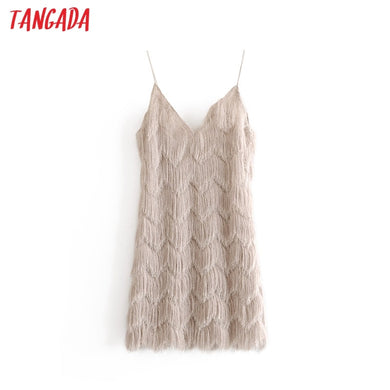 Tangada women sexy tassels mini dress 2019 deep V neck backless spaghetti strap party dress club design female 3H20