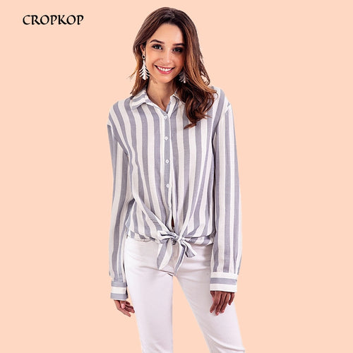 Long Sleeve  Blouse Women Striped Blet Womens Button Up Shirts Casual Ladies Office Wear Turn-down Collar Bow Top Female Tangada
