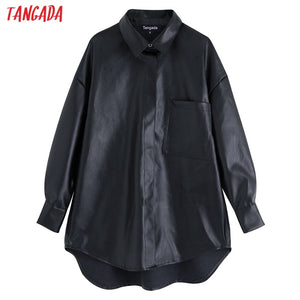 Tangada women faux leather oversize shirts 2019 boyfriend style long sleeve vintage female pocket black pu blouses tops BE34