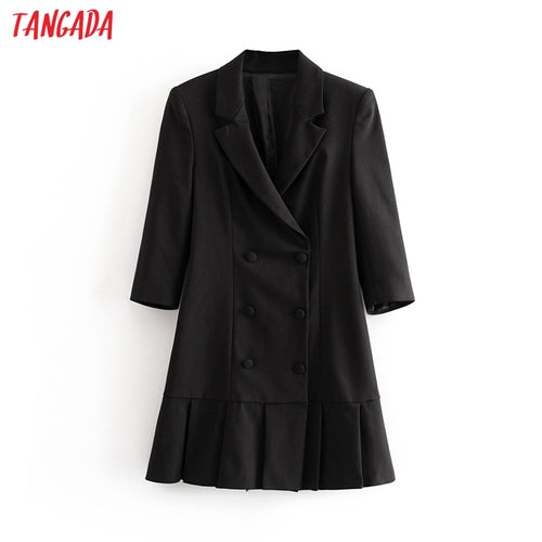 Tangada women elegant black blazer dress half sleeve 2019 vintage style females office lady mini dresses vestidos 3H55