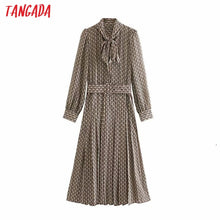 Load image into Gallery viewer, Tangada women elegant dress chain printed bow tie neck long sleeve 2019 korean fashion office lady midi dresses vestidos 5Z50