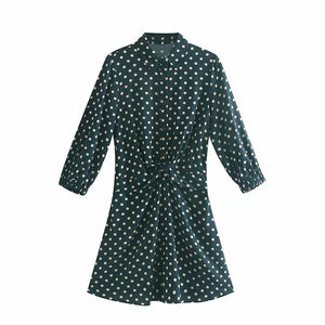 Tangada women green polka dot mini dress long sleeve vintage lady dress pleated female turn down collar vestidos 4M44