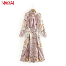 Load image into Gallery viewer, Tangada women vintage chain print pink dress bow neck long sleeve fashion ladies new year party dress 2W16