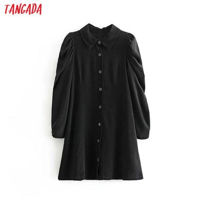 Tangada women elegant black corduroy mini dress puff long sleeve lady casual shirt dress vestidos 3A36