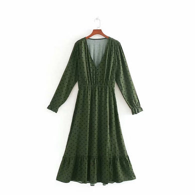 Tangada women green polka dot midi dress long sleeve v neck stretch waist vintage lady dress female vestidos CE117