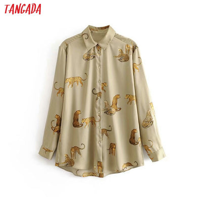 Tangada women oversized animal print blouse turn down collar long sleeve chic female casual loose shirt blusas femininas 3A15