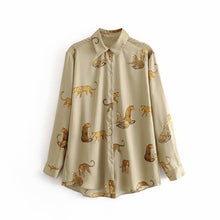 Load image into Gallery viewer, Tangada women oversized animal print blouse turn down collar long sleeve chic female casual loose shirt blusas femininas 3A15
