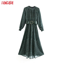 Load image into Gallery viewer, Tangada fashion women green dots print dress with belt Stand Collar Long Sleeve Ladies Loose midi Dress Vestidos XN16