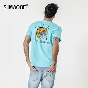 SIMWOOD 2019 summer new carton funny t-shirt men vacation beach style thin 100% cotton top causal tshirt high quality 190339