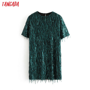 Tangada women green Sequined dress o neck short sleeve 2019 autumn winter female new year party dress vestidos 3H171