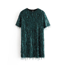Load image into Gallery viewer, Tangada women green Sequined dress o neck short sleeve 2019 autumn winter female new year party dress vestidos 3H171