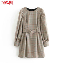 Load image into Gallery viewer, Tangada England fashion women plaid pattern dress with belt o neck Long Sleeve Ladies mini Dress Vestidos 6P17