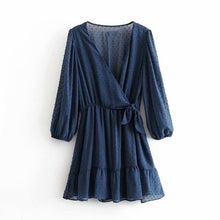 Load image into Gallery viewer, Tangada women blue dots pattern dress v neck bow long sleeve ladies casual mini dresses vestidos mujer 3A45