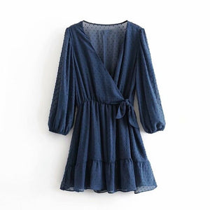 Tangada women blue dots pattern dress v neck bow long sleeve ladies casual mini dresses vestidos mujer 3A45